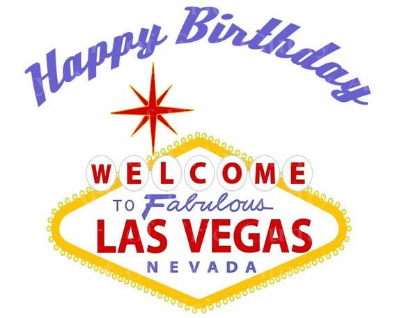 Las Vegas Sign Happy Birthday - Edible Cake and Cupcake Topper For Birthday's and Parties! - D22774