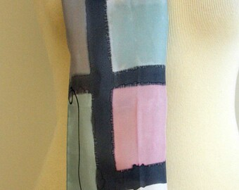 "Handpainted Silk Scarf. Silk Scarf. Hand Painted Silk. Mondrian style. Wedding Gift. Silk belt. Silk Headband. Silk Art.78""x7.8"""