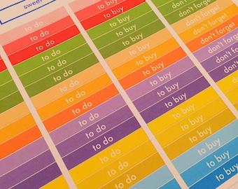72 Rainbow Header Planner Stickers- Box Title Stickers- School- perfect in your Erin Condren, Plum Paper, wall calendar or scrapbook