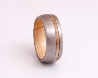 wood wedding band titanium ring wooden band man jewelry mens wedding ring woman wedding band