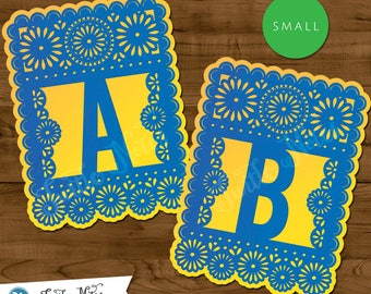 Small Blue & Yellow Papel Picado  :  Printable Banner All Letters 0-9 numbers