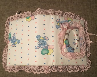 Easter Bunny Custom Photo Album for Baby Girl- Pink Lace and Pink Satin Ribbon