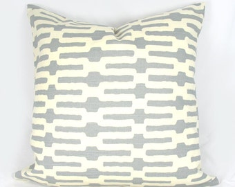 Annie Selke - Links - Grey, Cream - Decorative Pillow Cushion Cover - Accent Pillow - Throw Pillow - 18 x 18 Inch