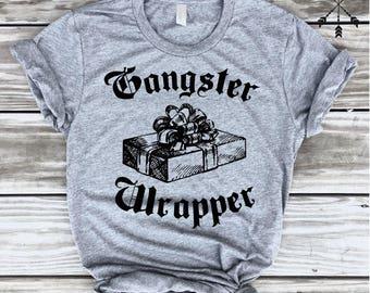 SALE *** Gangster Wrapper Tee, Holiday Shirt, Tshirt, Christmas, Hanukkah, Gift, Funny Graphic Tee