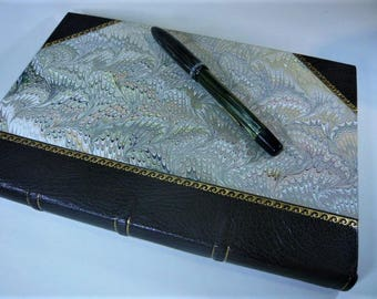 Luxurious Leather Bound Journal, Hand marbled paper sides, gold tooling