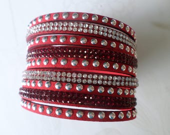 x 1 motif rhinestone/rivet silver plated clasp 20 cm adjustable leather strap