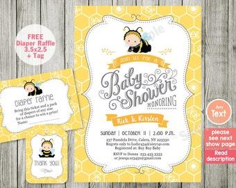 Bee Baby Shower Invitation, Bee And Honey Comb, Typography Shower Invitation,  Digital,