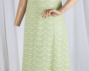 1970s, Nadine, Chartruse, High waisted,  light green, lace, sleeveless, formal, proms, dress, Mod, retro