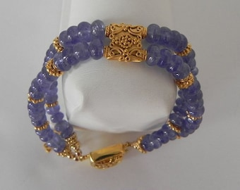 Tanzanite and Vermeil Double Strand Bracelet