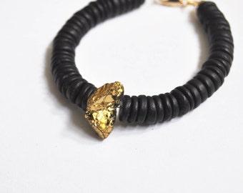 Black coconut + shell bracelet with gold quartz - PURNA