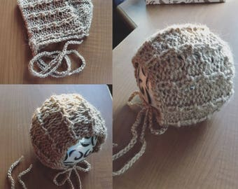 Chipmunk Holes round back knit bonnet, Newborn size,photo prop,gift idea,coming home
