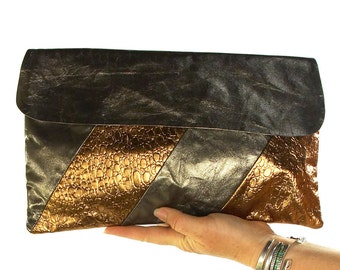80s Metallic Leather Clutch Bag Vintage 1980s New Old Stock Gold & Bronze Soft Leather Purse Optional Shoulder Strap Matching Cosmetic Bag