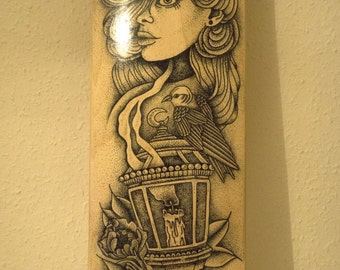 The Bird Lady; custom handmade limited edition stippling / dotwork skateboard deck with flowers and birds.