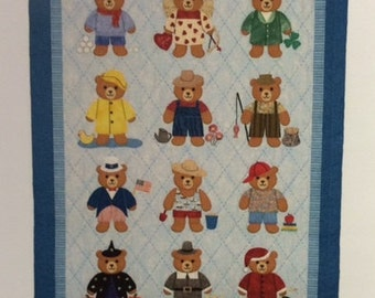 "BEARLY A MONTH wall hanging/baby/crib quilt pattern-Spring Creek Needleart-30""x34"""