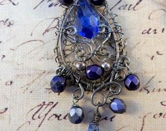 Victorian Inspired Sterling Silver and Swarvoski Crystal Pendant