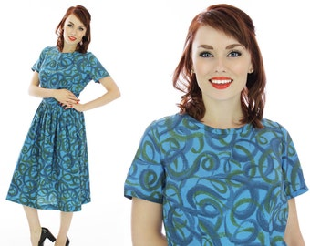 Vintage 50s Dress Blue Full Circle Skirt Pin-up Retro 1950s Puritan Forever Young  60s Mad Men 1960s Party Large L