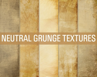 80% OFF SALE Digital Paper Neutral Grunge Textures Paper Pack Brown Tan Cream Dirty Grungy Vintage Backgrounds