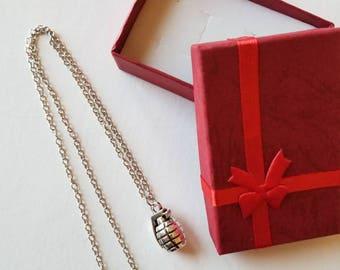 Grenade Necklace. Grenade charm jewelry.