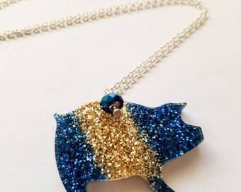 Sparkling Piggy Pendant, Pig Necklace, Glitter Pig Pendant, Glitter Necklace, Resin Pendant, Pig Jewelry