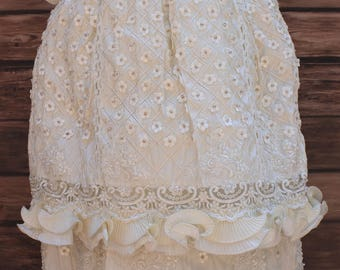 FAST SHIPPING!! Gorgeous Heirloom Christening Gown, Baptism Girl Dress, Christening Girl Gown, Silk Baptism Gown, Detachable Gown,