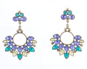 Purple and Blue Rhinestone Drop Earrings