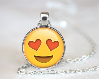 Emoji Hearts Glass Pendant, Photo Glass Necklace, Glass Keychain