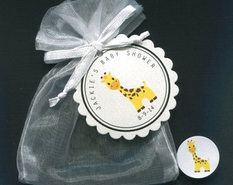Personalized  Baby Shower Favor Candy Sets for Baby, gender neutral, giraffe, includes tags, candy stickers, white organza bags