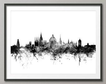 Oxford Skyline, Oxford England Cityscape Art Print (1443)