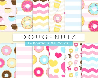 Doughnut Party digital paper. Cute digital paper pack of donuts backgrounds sweets, food, colorful patterns for commercial use clipart