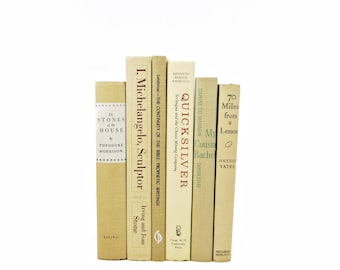 Wheat Beige Decorative Books, Old Rustic Book Set, Ivory Book Collection, Shabby chic Book GIft, Book Decor, Farmhouse Decor , fixer upper