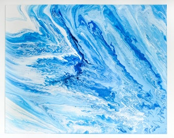 White Blue Abstract painting, Abstract Seascape Print, Fluid Painting Prints, Original Abstract Painting ,Flow Painting, Large Canvas Prints