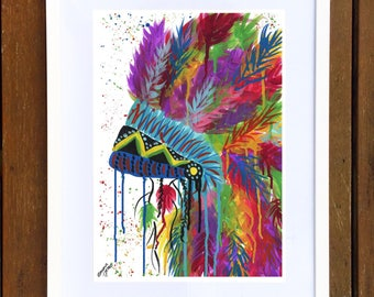 Rainbow Chief Headdress Art Print