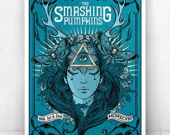 The Smashing Pumpkins Concert Poster - Illustration [Smashing Pumpkins Poster / Smashing Pumpkins / Radio City Music Hall - Aug 1 & 2, 1998]