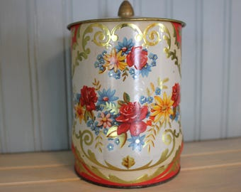 Vintage Murray-Allen Floral Regal Crown Metal Tin/Tea Tin/ Trinket Tin-Made in England