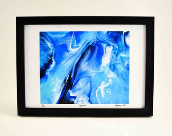 Print Wall Decor Abstract Seascape - Abstract Water Painting Ocean Wave - Coastal Beach Art Contemporary Art Print - Rustic Home Decor Blue