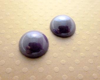 Set of 2 ceramic dishes cabochons purple 14mm - 1333d CAB