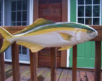 "Yellowtail Amberjack 36"" chainsaw original carved saltwater wooden fish sculpture Ocean Arts Great Amberjack collectible trophy fish mount"