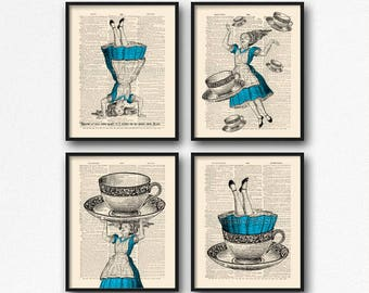 Alice Adventures, Book Lover Gift Set, Alice Gift Print, Print Set Gift, Alice In Wonderland, Cyber Monday Print, Anniversary Gifts, S45