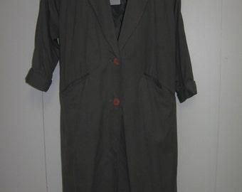 "Vintage 80""s Lightweight Dark Gray Duster Coat Size S"