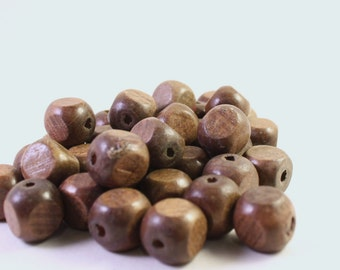 14mm Brown Natural Wood Cube Beads, Wholesale Loose Beads