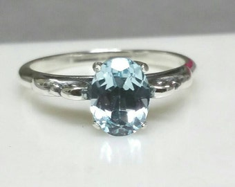 Blue Topaz Ring Non Traditional Engagement Ring Size 8 December Birthstone Sterling Silver Antique Setting Blue Gemstone Mother's Day Gift