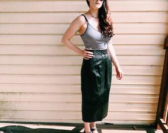 Vintage Geniune Leather Midi Skirt