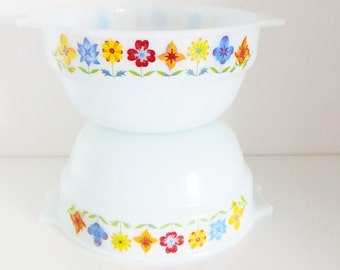 Opal Ware Bowls Set of Two White Glass BowlsWith Coloured Flowers By Phoenix, Made in England Circa 1960s