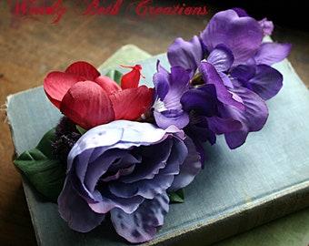 Pheona Fascinator Flower Cluster Hair Clip  - Vegan, Tribal, Belly Dance, Fairy, Wedding, Pin Up, Hair Garden, Rose, Orchid, Purple, Pink