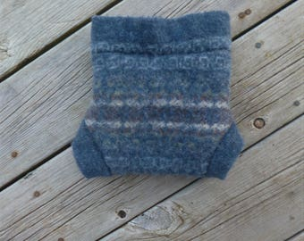 Wool Cloth Diaper Cover Recycled Wool Soaker Blue Size M