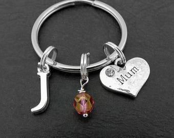 Mum Key Chain, Mum Keyring, Personalised Mum Keychain, Love my Mum Key Ring, Birthstone Key Ring,  Gifts for Mum