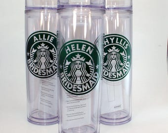 Starbucks Skinny Tumbler, Starbucks Tumbler, Starbucks Cup, Starbucks Gift, Starbucks Lover, Starbucks Wedding Party, Bridesmaid Gifts