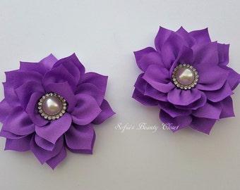Purple flower hair clip, Purple hair clip, Flower hair clip, Girls hair clips, Easter hair clip, Kanzashi flower, Kanzashi hair clip