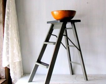 Vintage Wood Step Ladder - Grey Wood Step Stool ~ Rustic Furniture - Industrial Step Ladder - Wood Step Stool