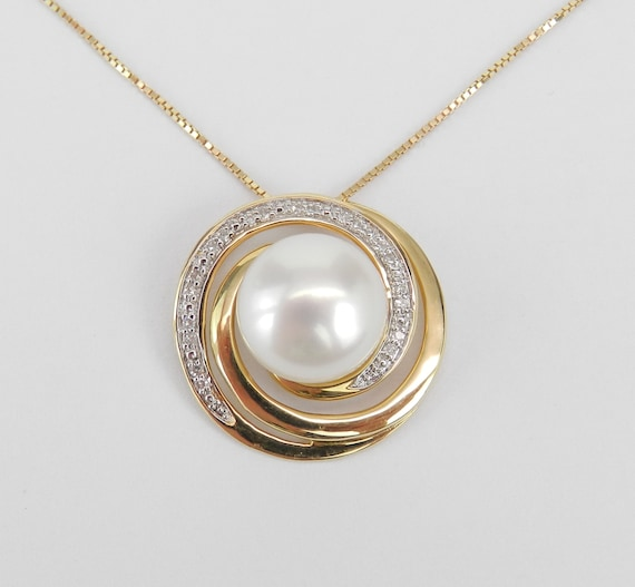 """14K Yellow Gold Diamond and Pearl Swirl Pendant Necklace with Chain 18"""" June Birthday"""